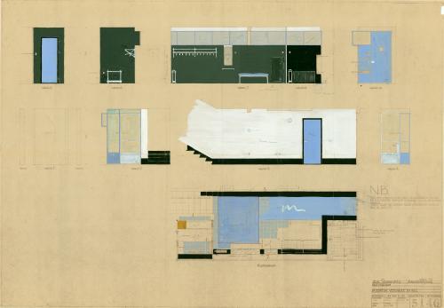 Ontwerptekening vestibule. Collectie Het Nieuwe Instituut. BROX 93t1