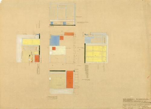 Ontwerptekening van het interieur van de slaapkamer. Collectie Het Nieuwe Instituut. BROX 93t21