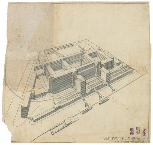 Brinkman en Van der Vlugt. Ontwerp Van Nellefabriek Rotterdam, 1925-1931. Collectie Het Nieuwe Instituut. BROX  5t2960