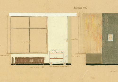 Detail van een interieurtekening van de eet en woonkamer waarop de theetrolley van Thonet is ingetekend. Collectie Het Nieuwe Instituut. BROX 93-t1
