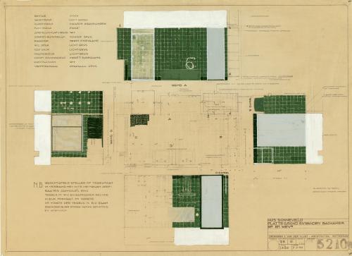 Brinkman en Van der Vlugt. Interieurtekening badkamer meneer en mevrouw Sonneveld. Collectie Het Nieuwe Instituut. BROX 93t21