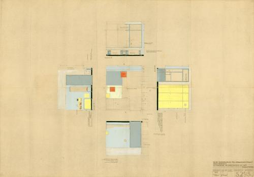 Ontwerptekening van de slaapkamer van Gé. Collectie Het Nieuwe Instituut. Archief BROX