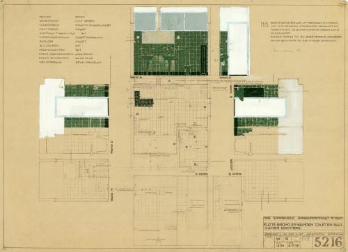 Brinkman en Van der Vlugt. Interieurtekening badkamer Puck en Gé. Collectie Het Nieuwe Instituut. BROX 93t21
