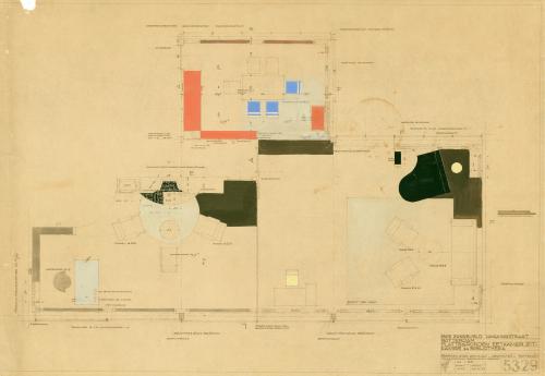 Ontwerptekening woonkamer, met de vleugel erin getekend. Collectie Het Nieuwe Instituut. BROX 93t21