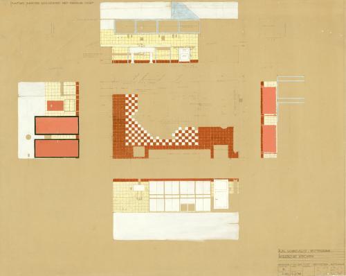 Brinkman en Van der Vlugt. Interieurtekening keuken. Collectie Het Nieuwe Instituut. BROX 93t21